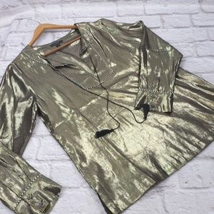 J.Crew Women's Metallic Gold Tunic Sheer Blouse